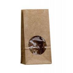 Крафт пакет с окном 80*50*170мм (1 слой) (бурый)