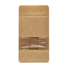 Пакет восьмишовный бумажные с отрывным замком, с окошком 40мм 100+70х190 (3 слоя) Светлая бумага