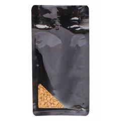 Пакет восьмишовный черный с треугольным окошком (НИЖНЕЕ) и с отрывным замком зип лок 110+55х225
