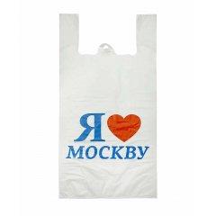 "Пакет Майка 30см(+15)*60см*15мкм, ""Я люблю Москву"", белый"