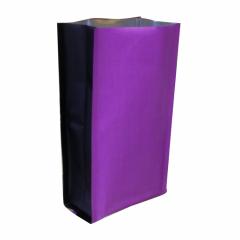 Пакет пятишовный 117(+70)х250, Метал/БОПП/PE (сиреневый, черные фальцы)