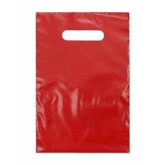 Пакет с вырубной ручкой 30х40см ПВД красный (50мкм)