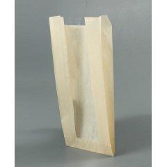 Крафт пакет с V-образным дном с окном 110(50)*40*260мм, 40 г/м2 (бежевый)
