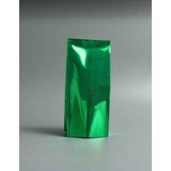 Пакет с центральным швом 75(+50)*170мм, Метал/БОПП/Pet, зеленый