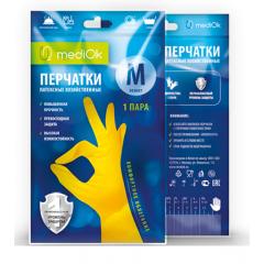 Перчатки латексные хозяйственные, L, желтые, mediOK, 1пара