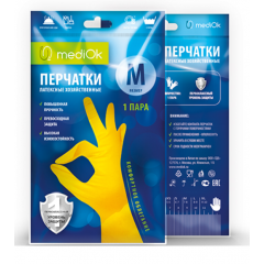 Перчатки латексные хозяйственные, M, желтые, mediOK, 1пара