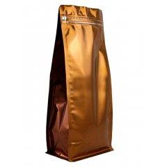 Пакет восьмишовный с плоским дном коричневый с отрывным замком зип-лок 150*90*345